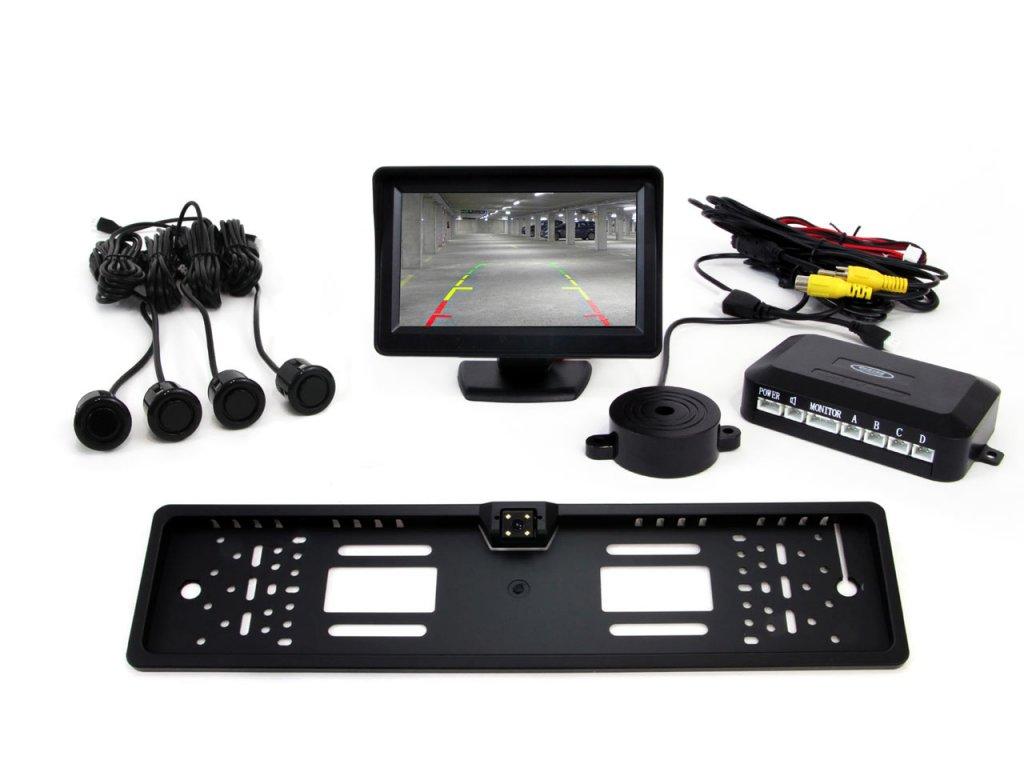 """Asistenty parkovania LCD 4,3"""" s kamerou CAM-402 LED v podložke pod ŠPZ, 4-senzorové, čierne GOLD 18mm"""