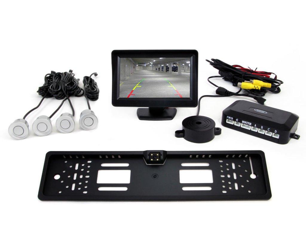 """Asistenty parkovania LCD 4,3"""" s kamerou CAM-402 LED v podložke pod ŠPZ, 4-senzorové, strieborné"""