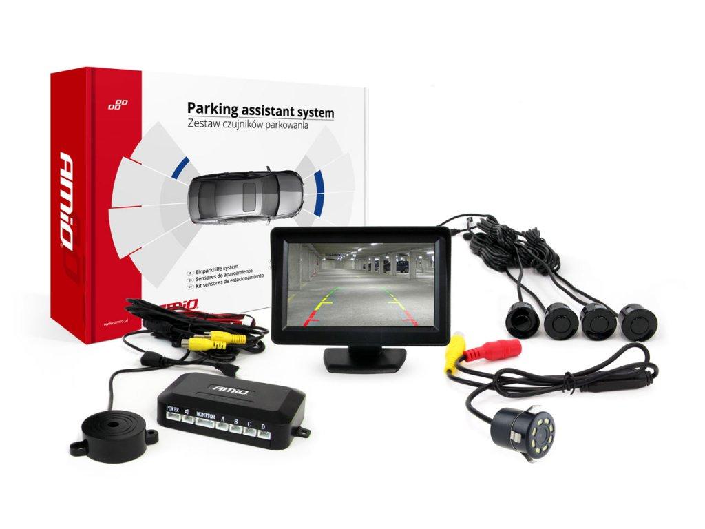 """Asistenty parkovania LCD 4,3"""" s kamerou CAM-308 LED, 4-senzorové čierne"""