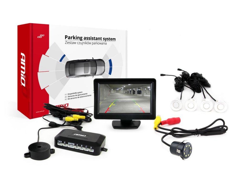 """Asistenty parkovania LCD 4,3"""" s kamerou CAM-308 LED, 4 senzorové biele"""