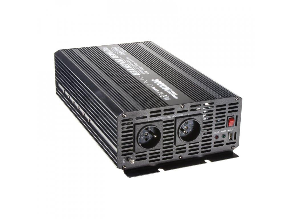 Menič napätia z 12V na 230V + USB, 3000W