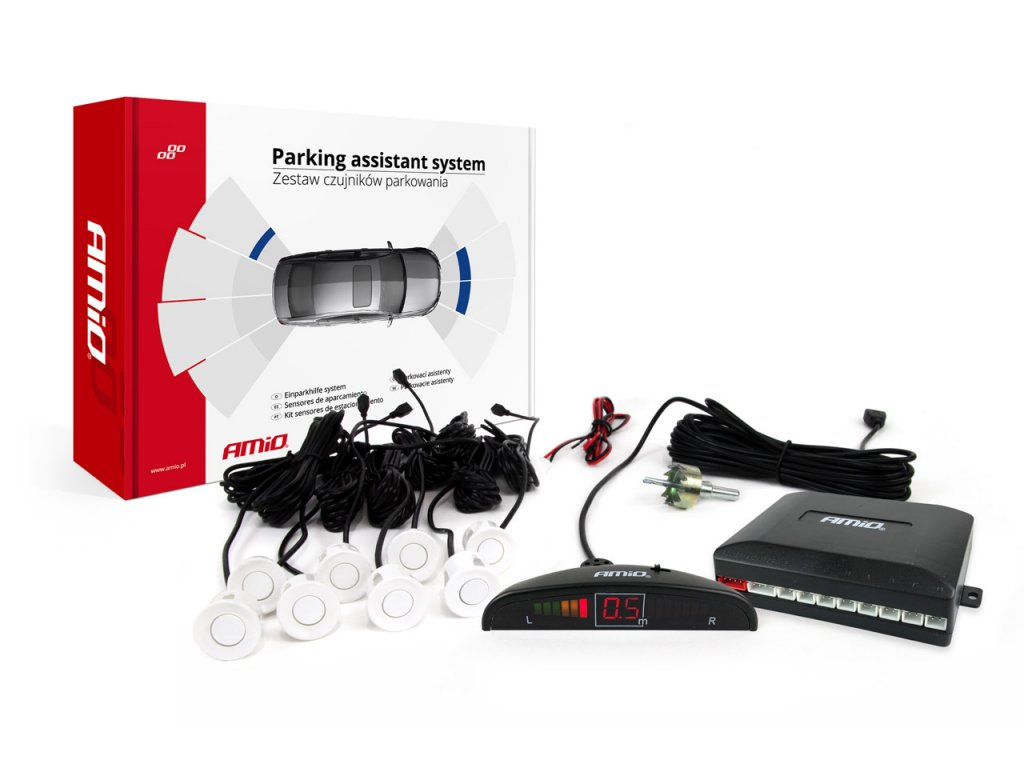 Asistenty parkovania LED 8-senzorové biele