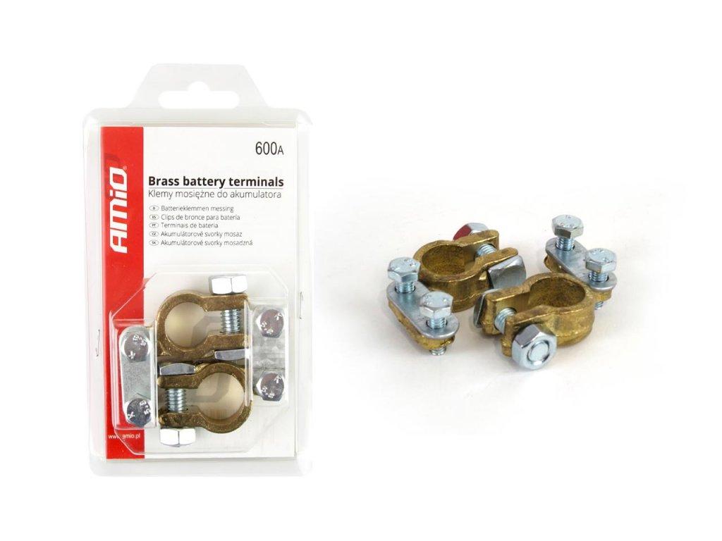 Mosadzné svorky batériové 600AMP (+/-) 2 ks blister