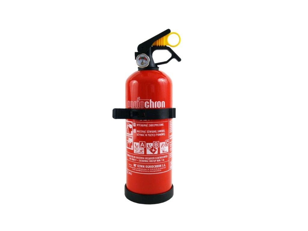 Práškový hasiaci prístroj ABC s manometrom a vešiakom, 1 kg
