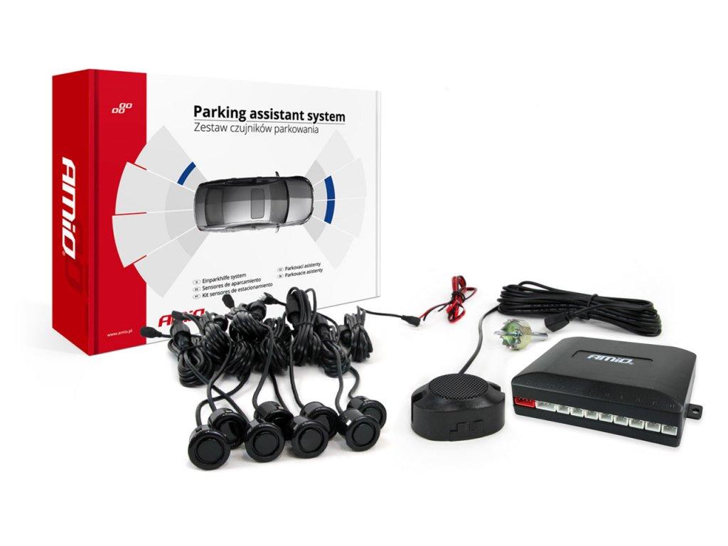 Asistenty parkovania so zvukovým signalizátorom/bzučiak 8 senzorové čierne GOLD 18mm