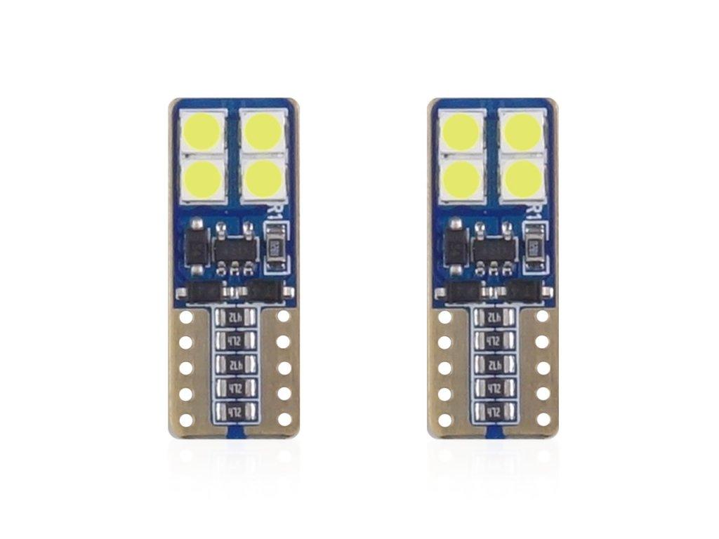LED žiarovky CANBUS 8SMD 2835 T10e (W5W) White 12V/24V