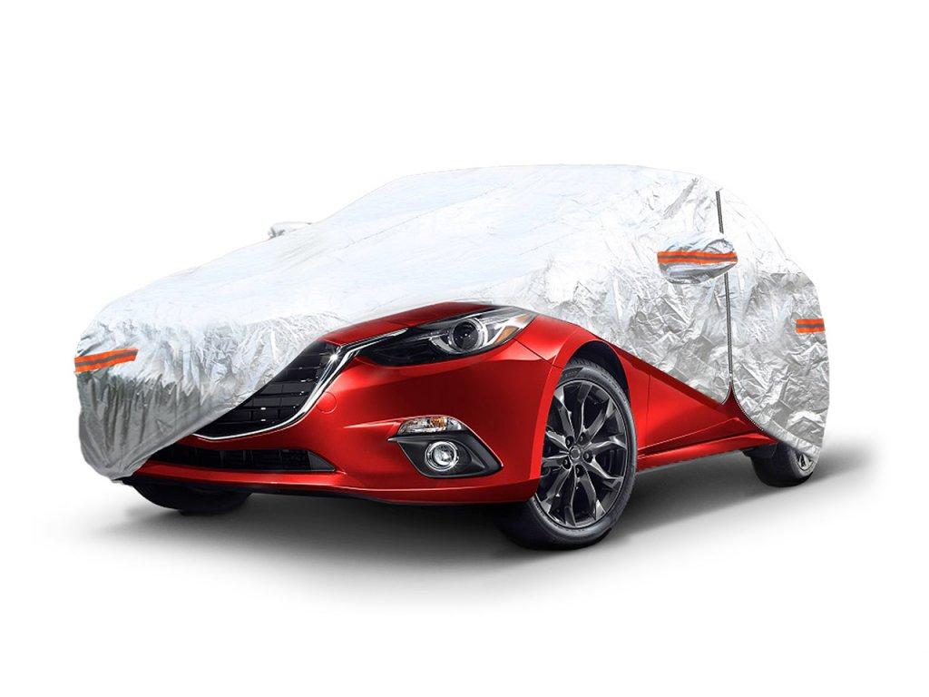 Autoplachta strieborná so zipsom, reflexná, veľkosť L, rozmery: 480x180x120cm