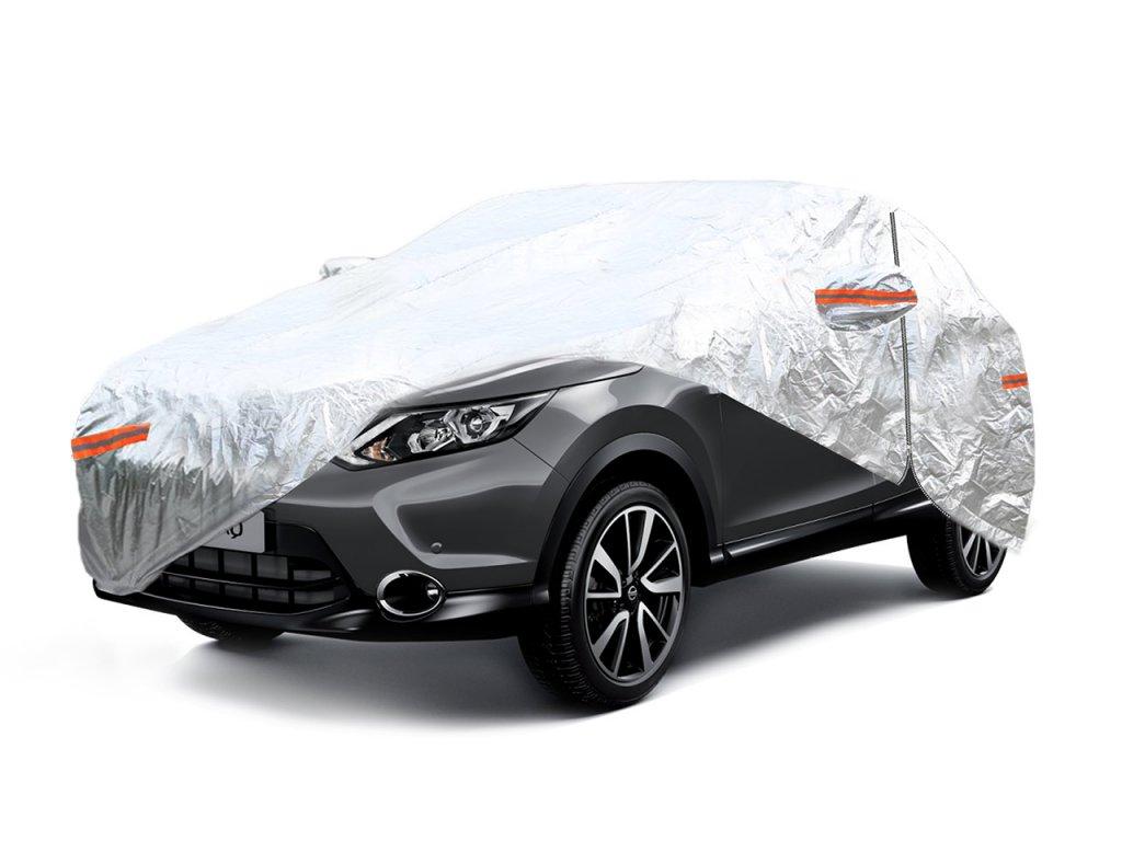 Autoplachta strieborná so zipsom, reflexná, typ SUV/VAN veľosť L