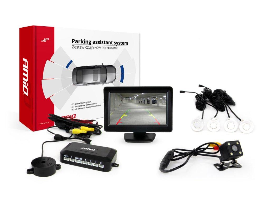 Asistenty parkovania LCD 4,3` s kamerou CAM-315 LED, 4-senzorové biele