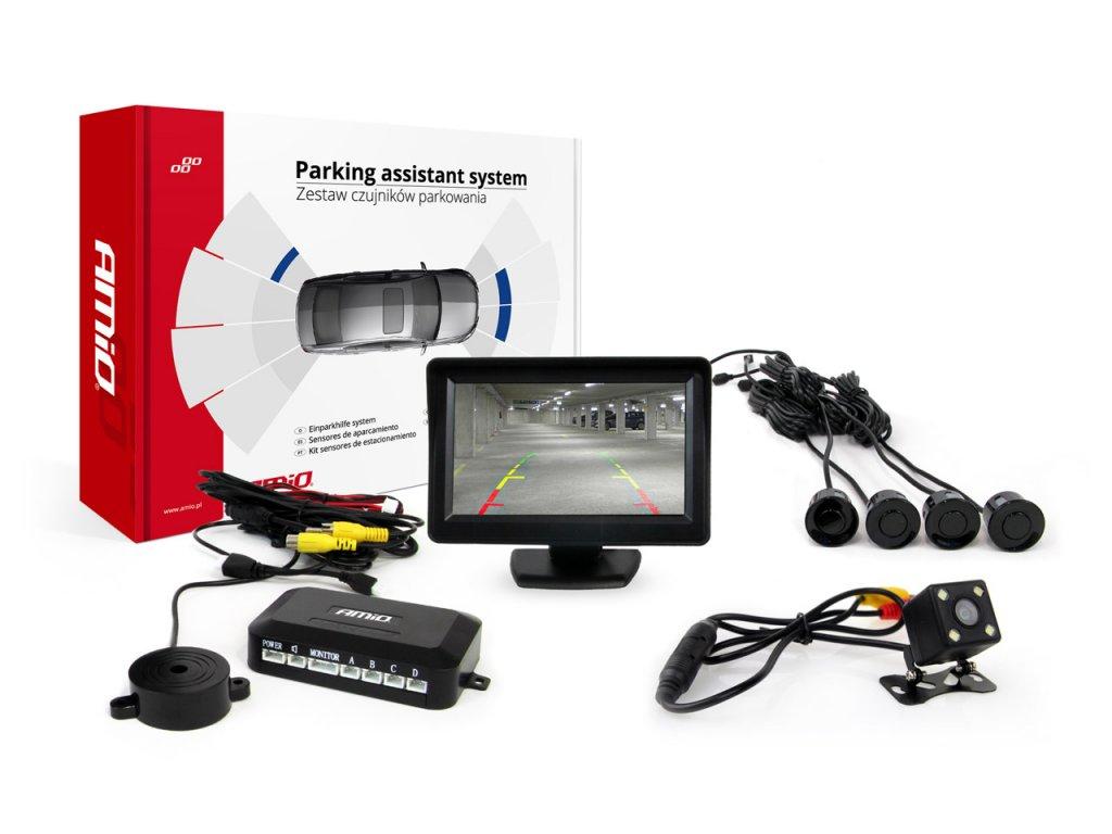 Asistenty parkovania LCD 4,3` s kamerou CAM-315 LED, 4-senzorové čierne