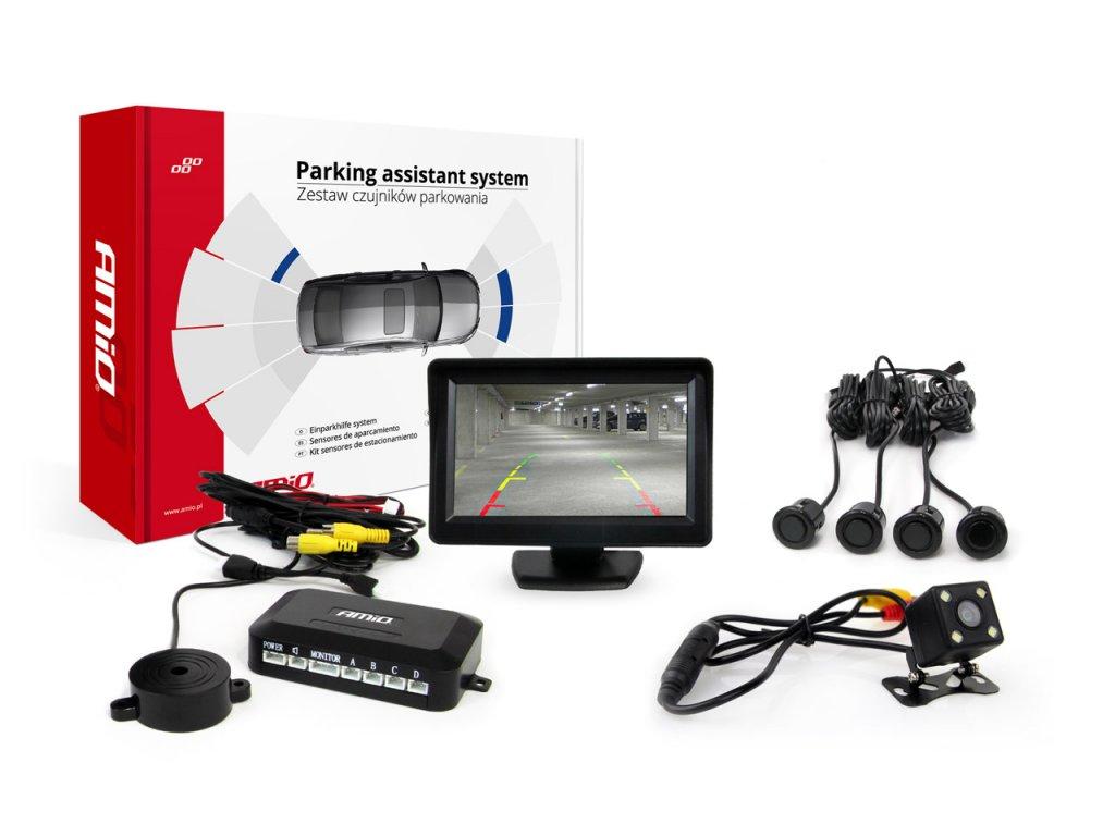 Asistenty parkovania LCD 4,3` s kamerou CAM-315 LED, 4-senzorové čierne, GOLD 18mm