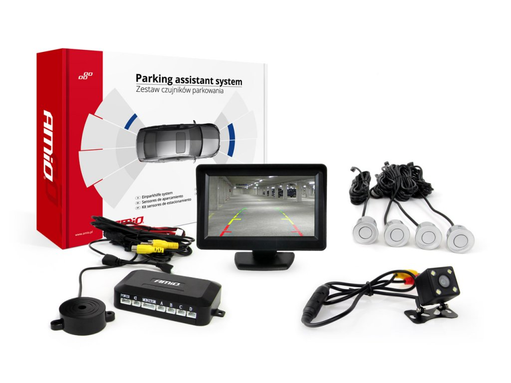 Asistenty parkovania LCD 4,3` s kamerou CAM-315 LED, 4-senzorové strieborné