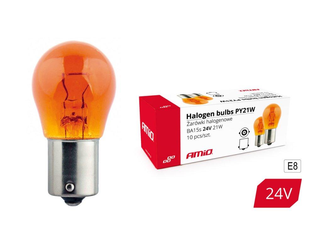 Halogénové žiarovký PY21W BA15s 24V 21W AMBER 10ks