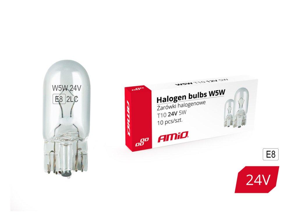 Halogénové žiarovky W5W T10 5W W2.1x9.5d 24V 10ks