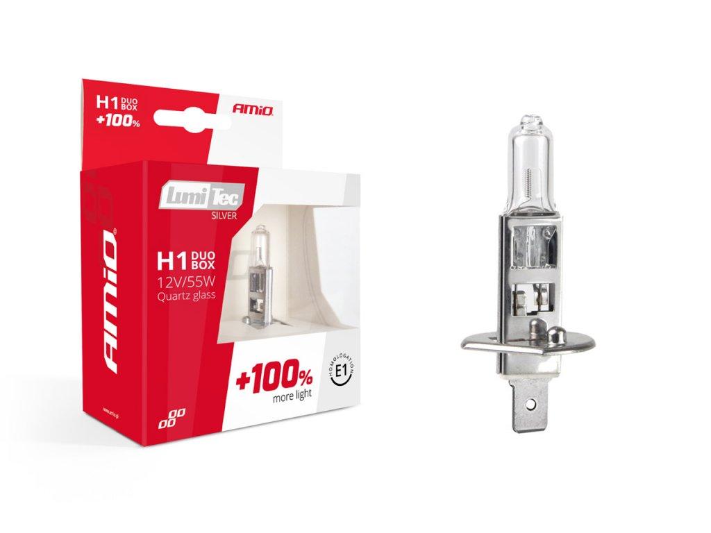 Halogénový DUO blister (2ks) H1 12V 55W sada LumiTec SILVER +100%