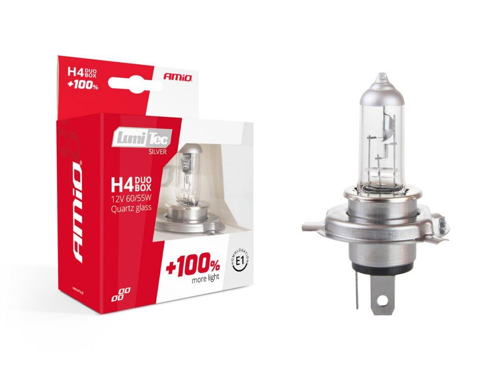 Halogénový DUO blister (2ks) H4 12V 60/55W sada LumiTec SILVER +100%