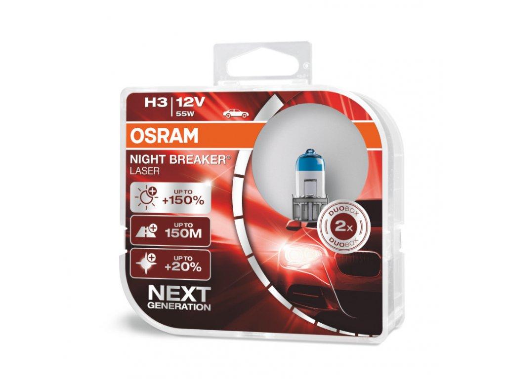 Halogénové žiarovky Osram H3 12V 55W PK22S NIGHT BREAKER LASER +150% 2ks
