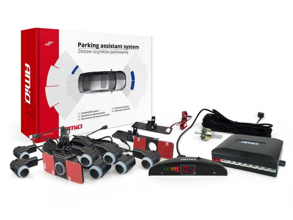Asistenty parkovania LED 8-senzorové čierne, vnútorné 16,5mm