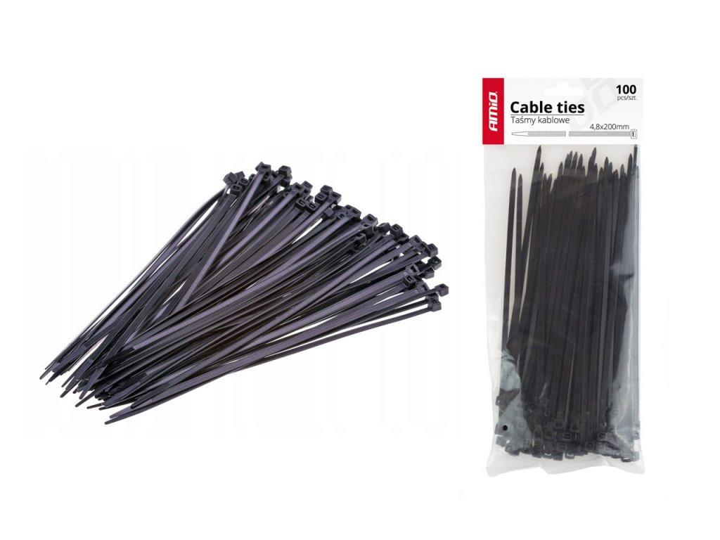 Sťahovacie pásky čierne 4,8x200mm - 100 ks