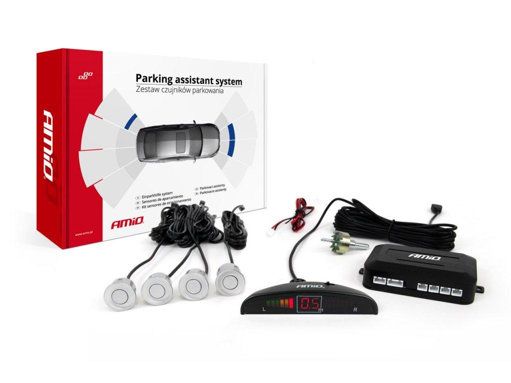 Asistenty parkovania LED 4-senzorové, strieborné