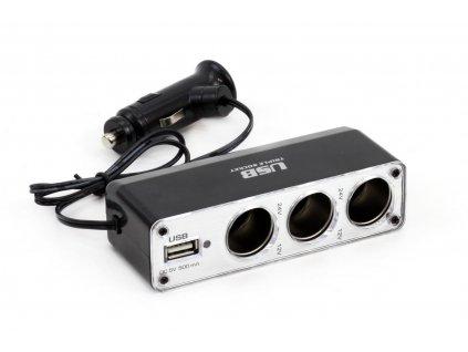 Roztrojka autozapaľovača + USB SOC3