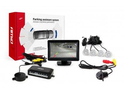 """Asistenty parkovania LCD 4,3"""" s kamerou HD-305 LED 4-senzorové strieborné"""