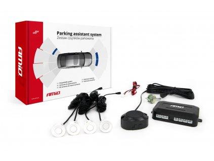 Asistenty parkovania so zvukovým signalizátorom/bzučiak 4-senzorové, biele