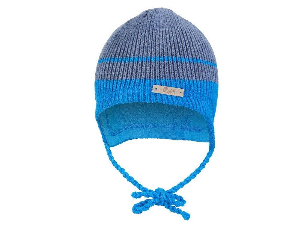 Čepice pletená zavazovací LA Outlast ® - denim pruh (Velikost 1 | 36-38 cm)