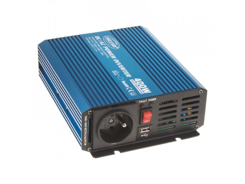 Sinusový měnič napětí z 12/230V + USB, 400W