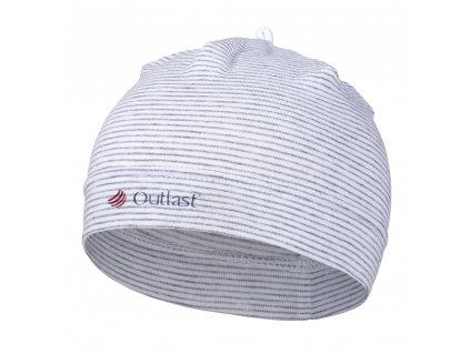 Čepice tenká kojenecká Outlast® - pruh bílošedý melír (Velikost 2   39-41 cm)