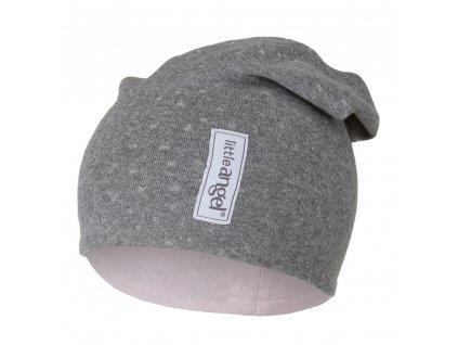 Čepice spadlá podšitá Outlast® - šedý melír lesk/růžová (Velikost 3 | 42-44 cm)