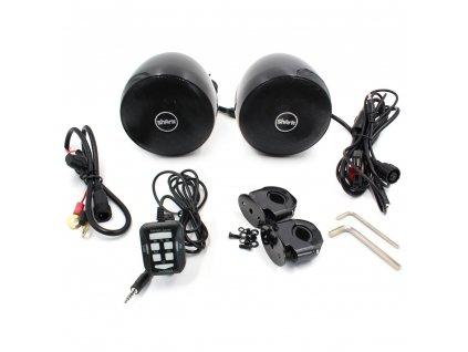 Zvukový systém na motocykl, skútr, ATV s FM, USB, AUX, BT, barva černá