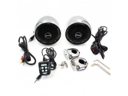 Zvukový systém na motocykl, skútr, ATV s FM, USB, AUX, BT, barva chrom