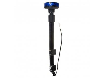 LED maják, 12–24 V, 9 x 3 W modrý s teleskopickou tyčí na motocykl, ECE R65