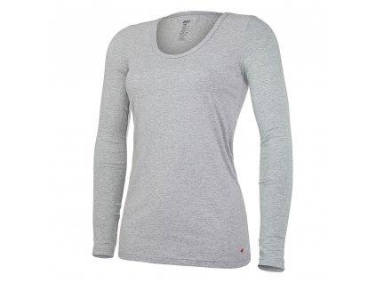 Tričko dámské DR tenké výstřih U Outlast® - šedý melír (Velikost S)