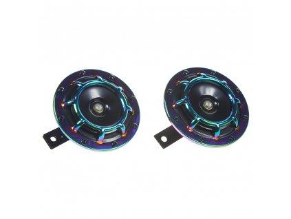 Diskový klakson (vysoký a nízký tón), duhový, 120mm, 12V