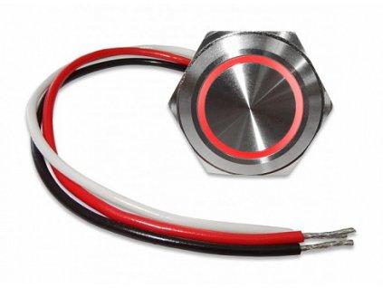 Tlačítko kovové kulaté, červené podsvícení, programovatelné s časovou funkcí