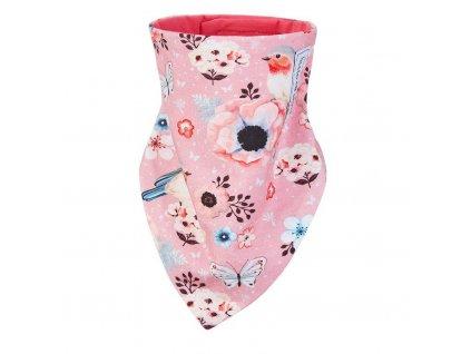 Šátek na krk podšitý Outlast® - tm.losos louka/jahodová (Velikost UNI)