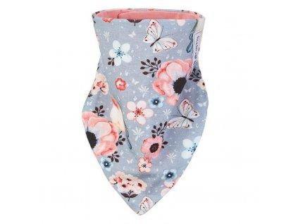 Šátek na krk podšitý Outlast® - šedá louka/tm.losos (Velikost UNI)