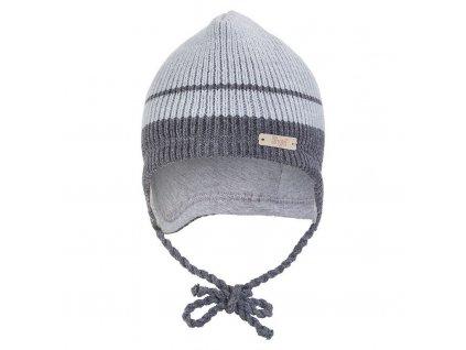 Čepice pletená zavazovací LA Outlast ® - sv.šedá pruh (Velikost 1 | 36-38 cm)