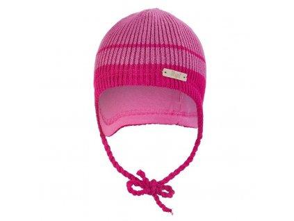 Čepice pletená zavazovací LA Outlast ® - růžová pruh (Velikost 1 | 36-38 cm)