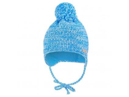 Čepice pletená zavazovací LA s bambulí Outlast ® - modrá melír (Velikost 1 | 36-38 cm)