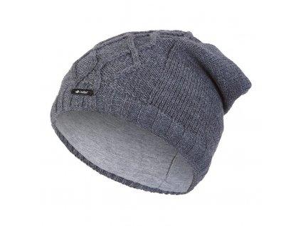 Čepice pletená spadlá vlnky Outlast ® - tm.šedá (Velikost 5   49-53 cm)