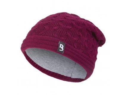 Čepice pletená spadlá Outlast ® - fialovobordová (Velikost 5   49-53 cm)