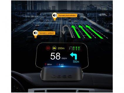 "HEAD UP DISPLEJ 4"" / TFT LCD, OBDII + GPS + navigační, reflexní deska"
