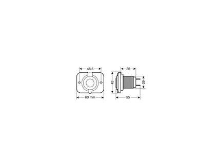 Zásuvka USB 2100mA 12/24V s krytem vodotěsná, 39006