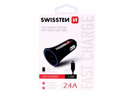 Zástrčka SWISSTEN s 2x USB výstupem 2,4 A, 12/24V s kabelem microUSB, 44056