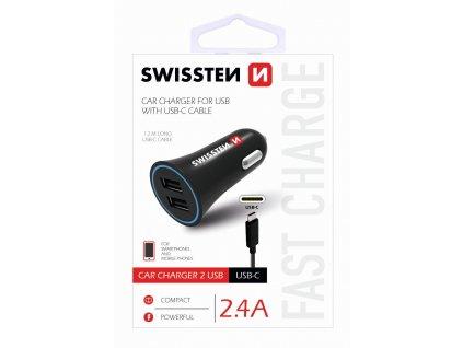 Zástrčka SWISSTEN s 2x USB výstupem 2,4 A, 12/24V s kabelem USB-C, 45349