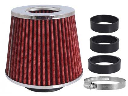 Filtr vzduchový UNI 155x130x120mm, červený/chrom, adaptér 60,63,70mm, 86004