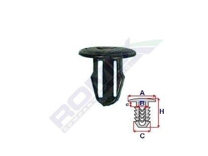 Příchytka čalounění A-13,6; B-6,9; C-8; d-3; H-13,2mm